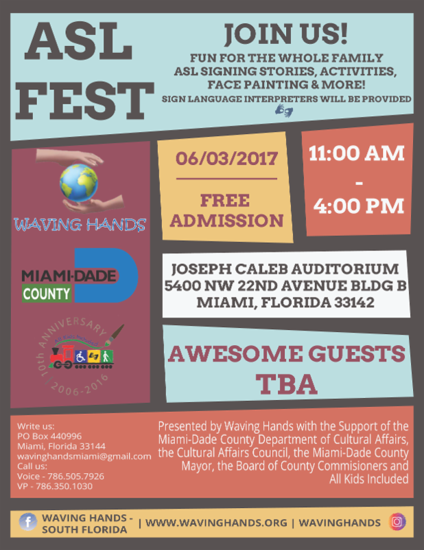 flyer for Waving Hands picnic on June 3, 2017 at 11am at Joseph Caleb Auditorium.
