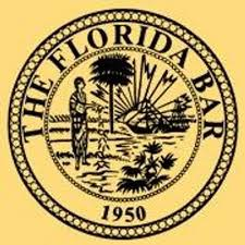 logo for the florida bar. shows the words the florida bar in a circle that surround a picture of a native american next to a palm tree and florida nature.