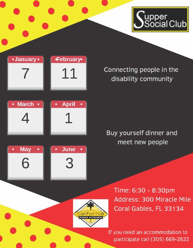 flyer with dates for supper social for jan through jun flyer is red and black with yellow background and red polka dots