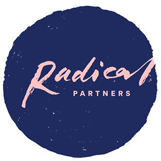 a blue circle with the words radical partners in pink ink inside the circle