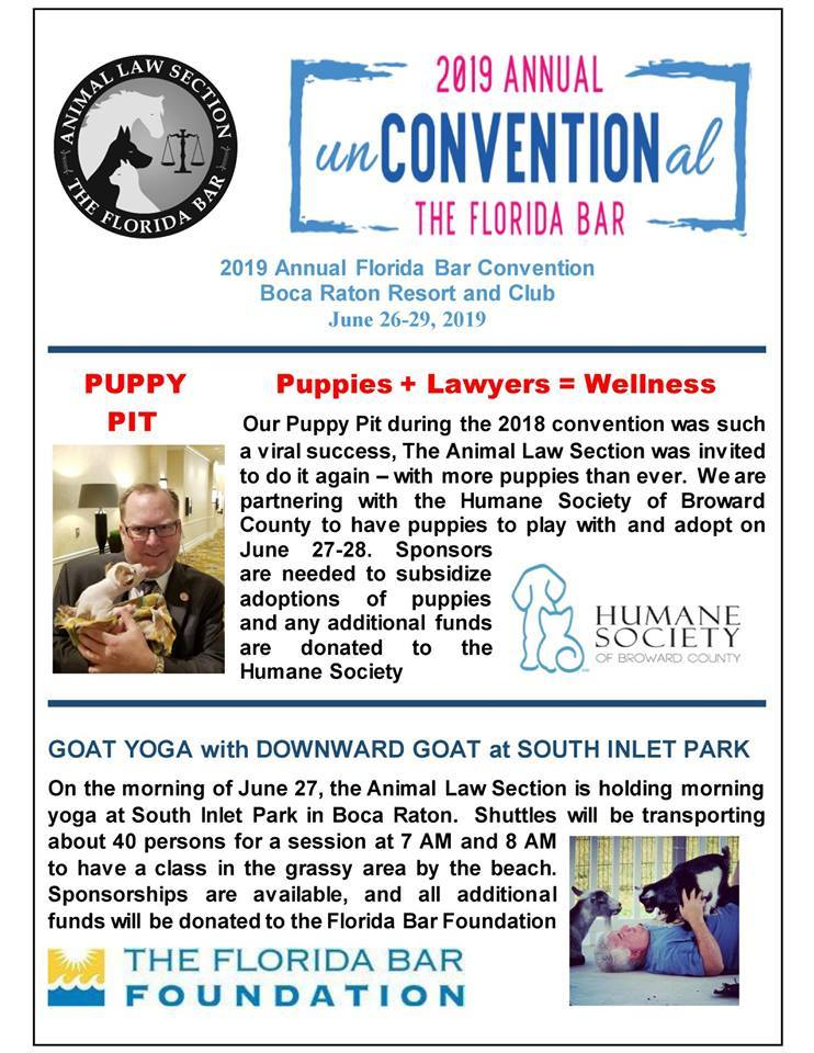 flyer from animal law section of the florida bar announcing a puppy pit and goat yoga at the annual conference June 26-29.