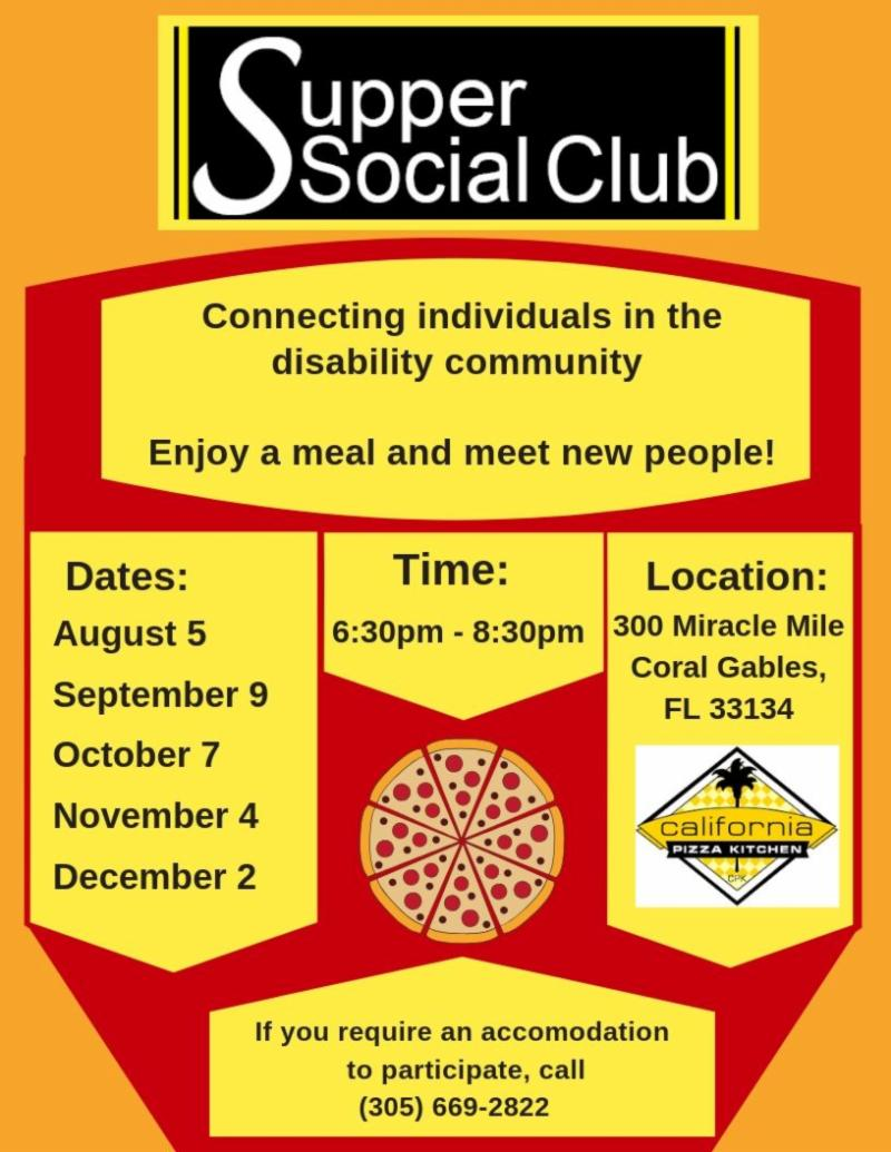 supper social club flyer with dates for august september october november and december the flyer is red yellow and black