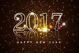 the number 2017 on a black background and the words happy new year.