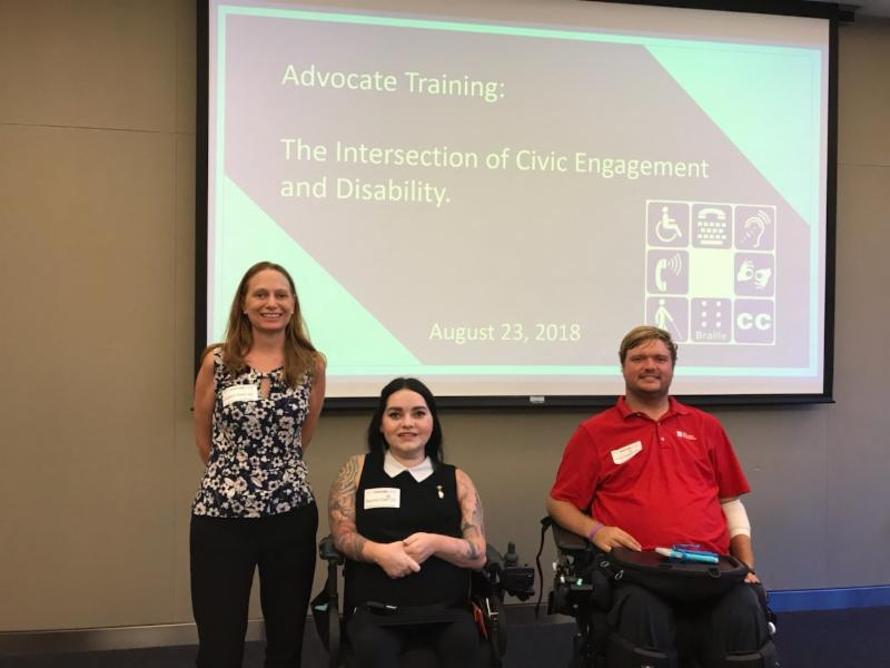 Debbie Rachel and Woody at the CIC doing a training on civic engagement and disability