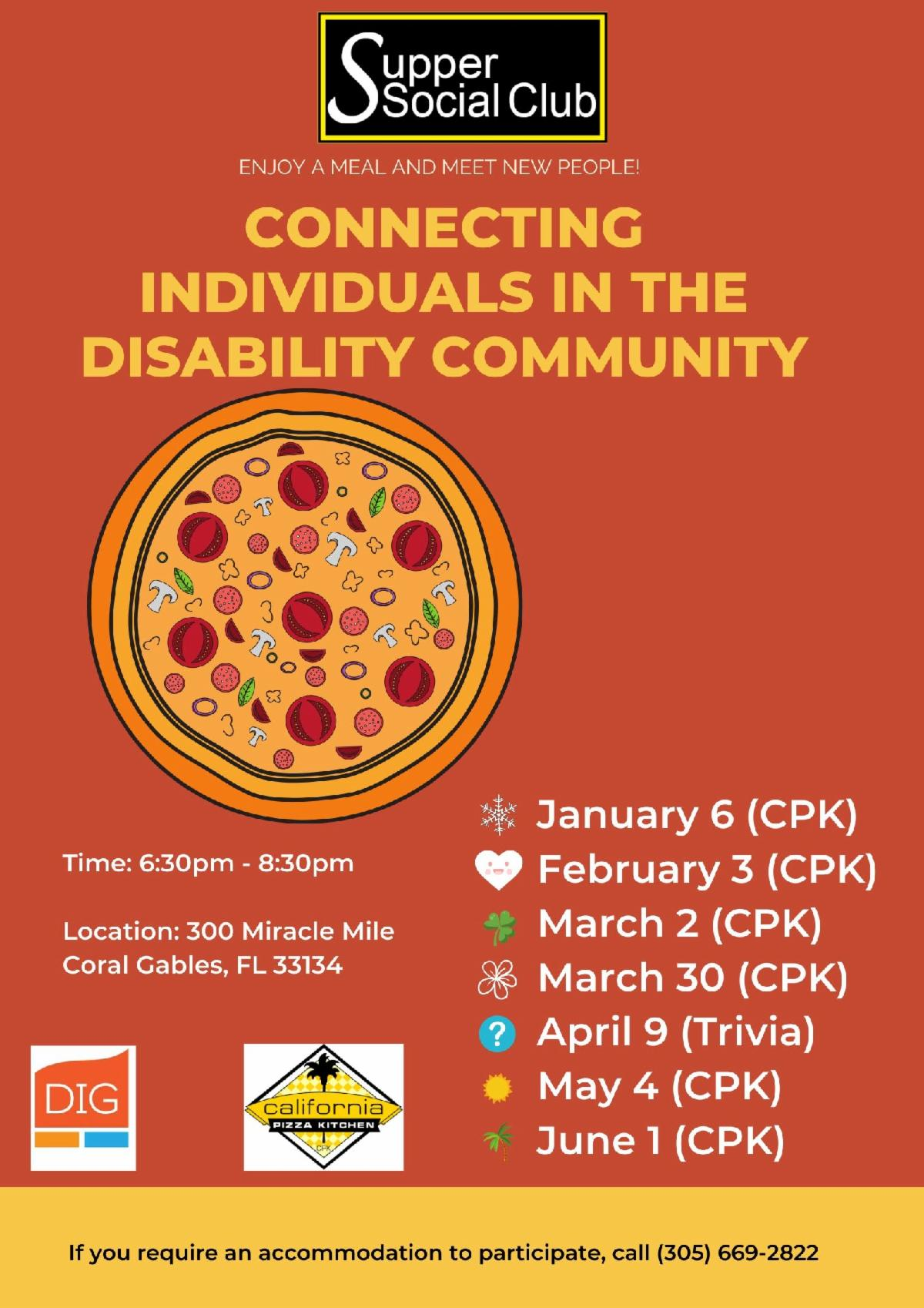 supper social flyer for jan through june of 2020 the flyer is red with a pizza in the middle and yellow writing that lists the dates of the event