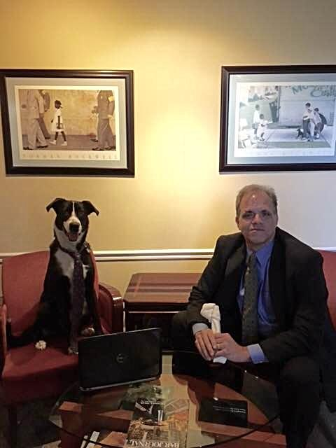 lucy sitting in a chair wearing a tie with a laptop and matt sitting in a chair holding a chew bone.
