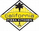 Diamond with yellow checkered background and a black palm tree and the words California pizza kitchen