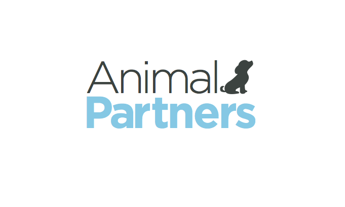 animal partners logo with the word animal in black with a silhouette of a puppy and then the word partners in blue