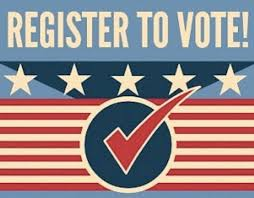 sign that says register to vote with a big red check mark in the middle with a background of stars and stripes