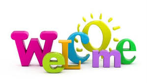clipart that says the word welcome in bright colors and the o looks like a sun