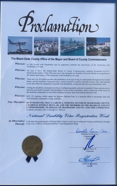 proclamation for National Disability Voter Registration Week signed by Mayor of Miami-Dade County and commissioner Daniella Levine Cava