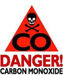 red triangle with a skull and crossbones with the letters CO inside and then the words Danger Carbon monoxide