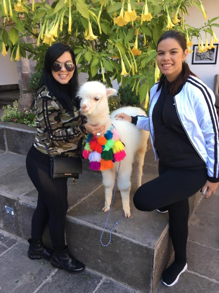 Yare and Claudia in Peru with an alpaca