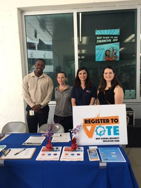 registering people to vote at MDC
