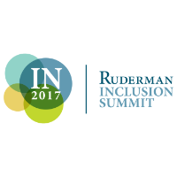 four circles overlapping each other with the letters IN and 2017 in the largest circle.  Then next to the circles the words Ruderman Inclusion Summit