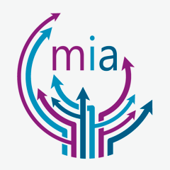 Miami inclusion alliance logo. several arrows pointing upward in blue, turquoise, and purple with the letter mia in the middle.