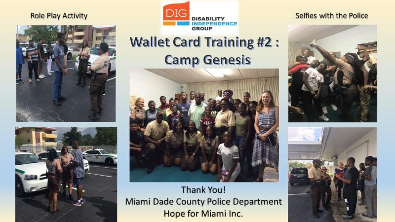 Collage of five pictures with the students and police working together with the wallet cards.