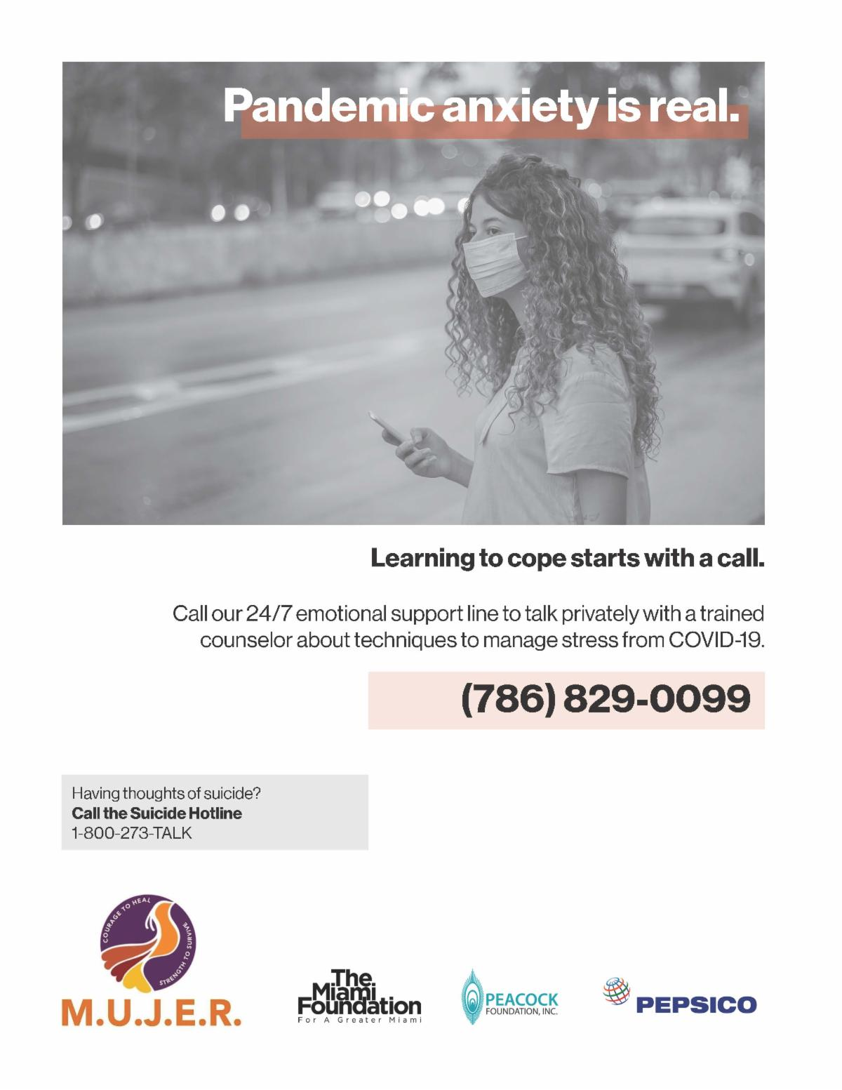 MUJER flyer for a COVID-19 helpline.