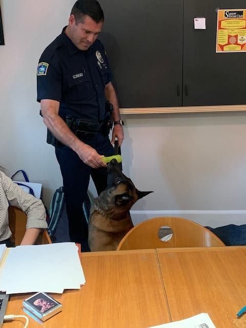 An officer giving his police dog a chew toy at the DIG Office