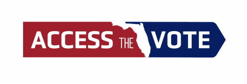 Access the vote logo in red and blue with the word access the in white letters with a red background and vote in white letters with a blue background and the state of florida in the middle in white