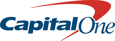 capital one logo with a red boomerang on the top of the name.