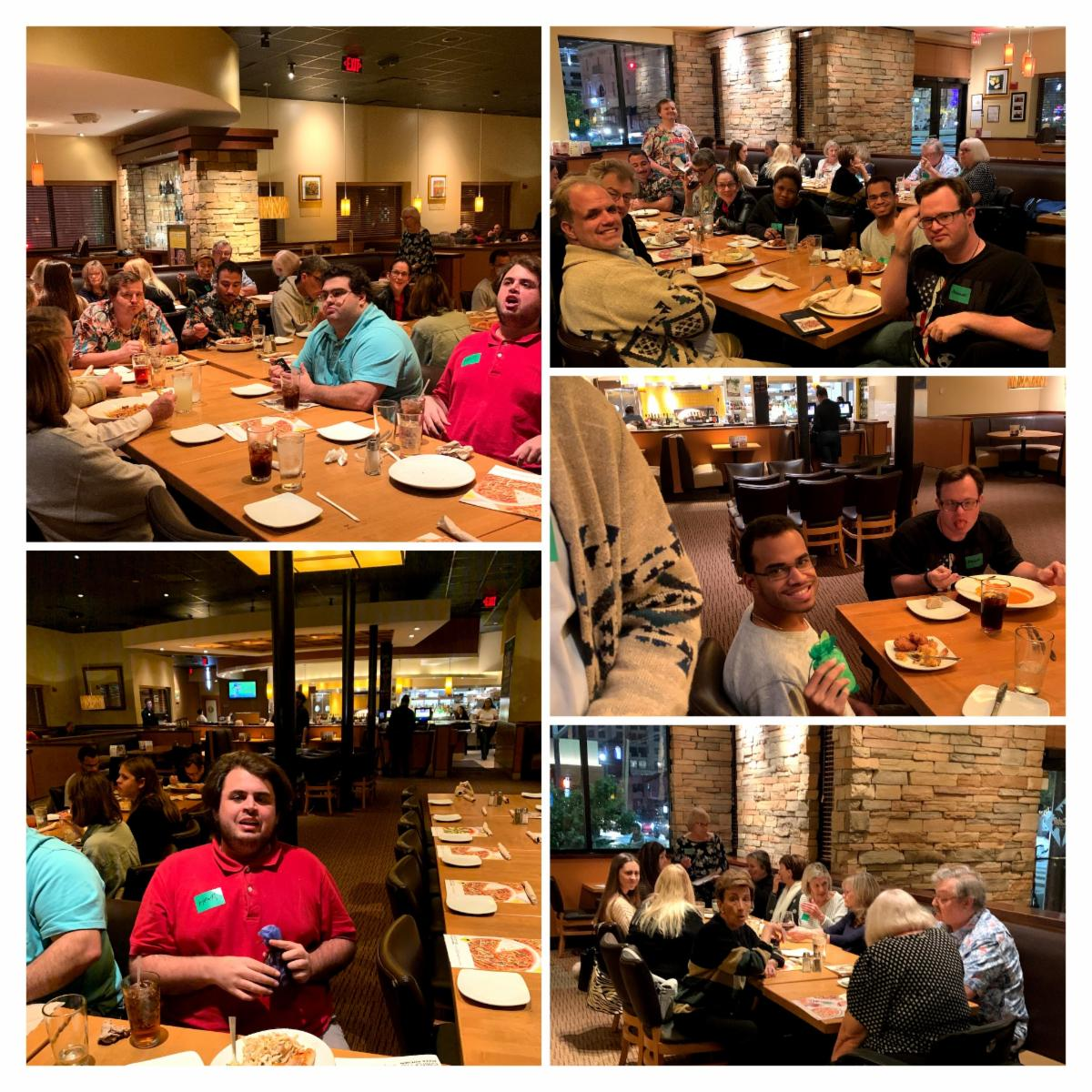 Collage of 5 pictures from the January Supper Social Club everyone is sitting at tables eating dinner and talking