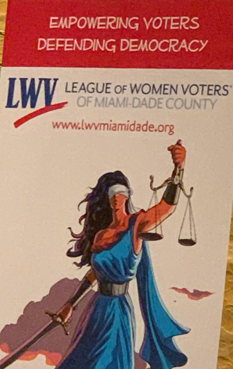 league of women voters poster with lady justice blindfolded and holding a sword