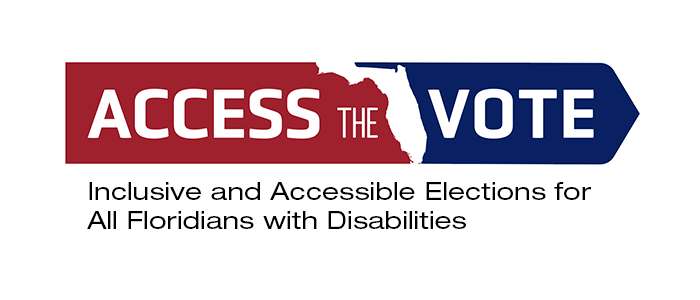 access the vote logo with state of Florida in the middle with the words inclusive and accessible elections for all Floridians with disabilities