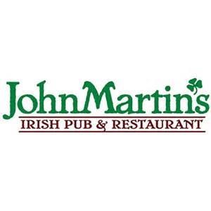 logo for restaurant.  the words john martins in green and then the words irish pub and restaurant in red.