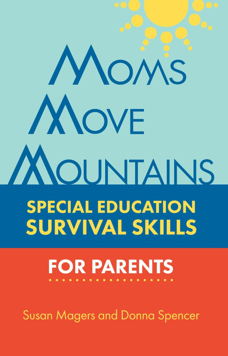 moms move mountains logo with a yellow sun and a blue dark blue and orange striped boxes