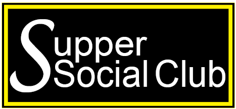 black rectangle box outlined with a yellow line and the words Supper social club in the box in white