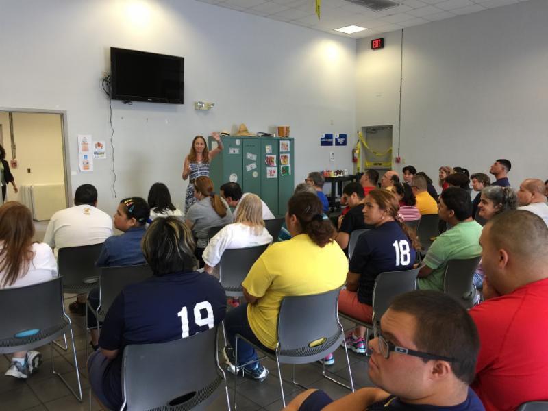 Debbie at City of Miami Parks program doing part 2 of the Wallet Card Training.