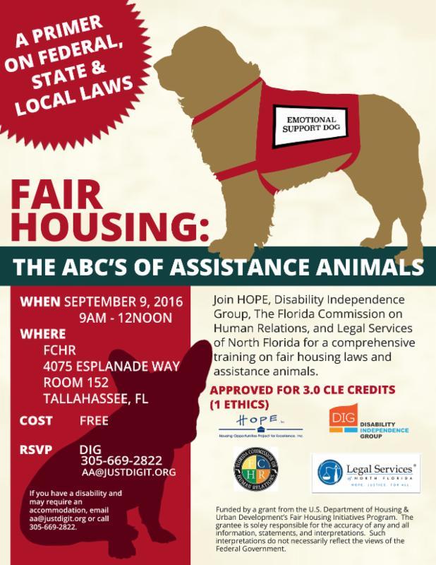 Brochure for fair housing seminar in Tallahassee on September 9, 2016