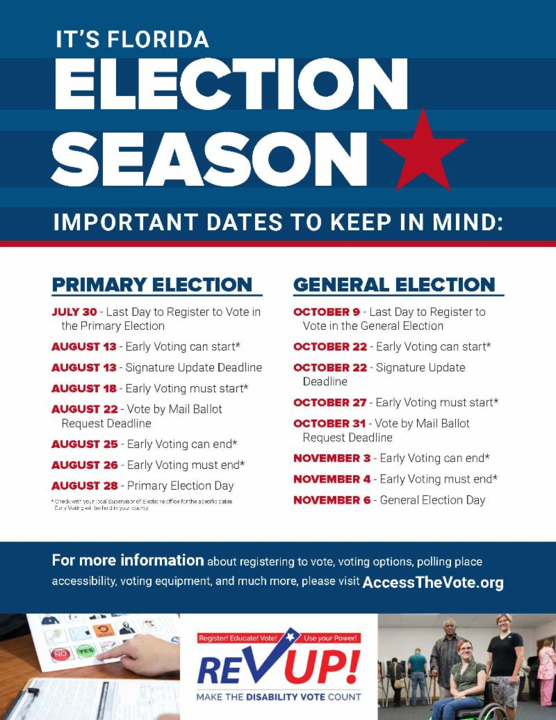 election season poster with important election dates for the primary election and the general election in florida