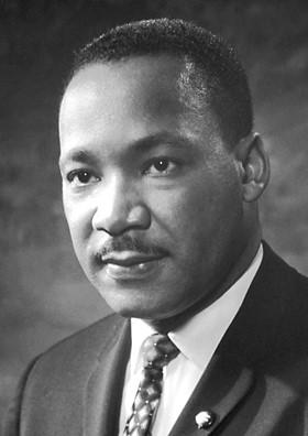black and white headshot of MLK Jr