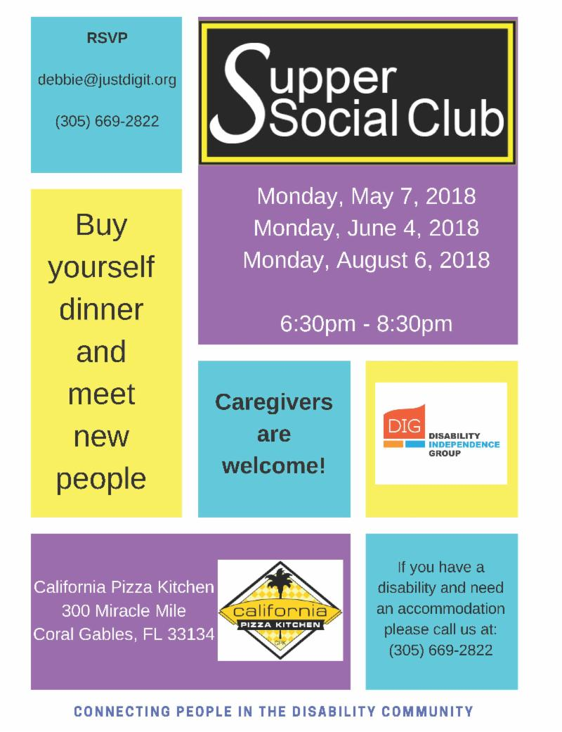 supper social club flyer with different colored boxes listing all of the information.