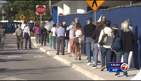 people standing in a line on the side of the street waiting for a COVID-19 vaccine