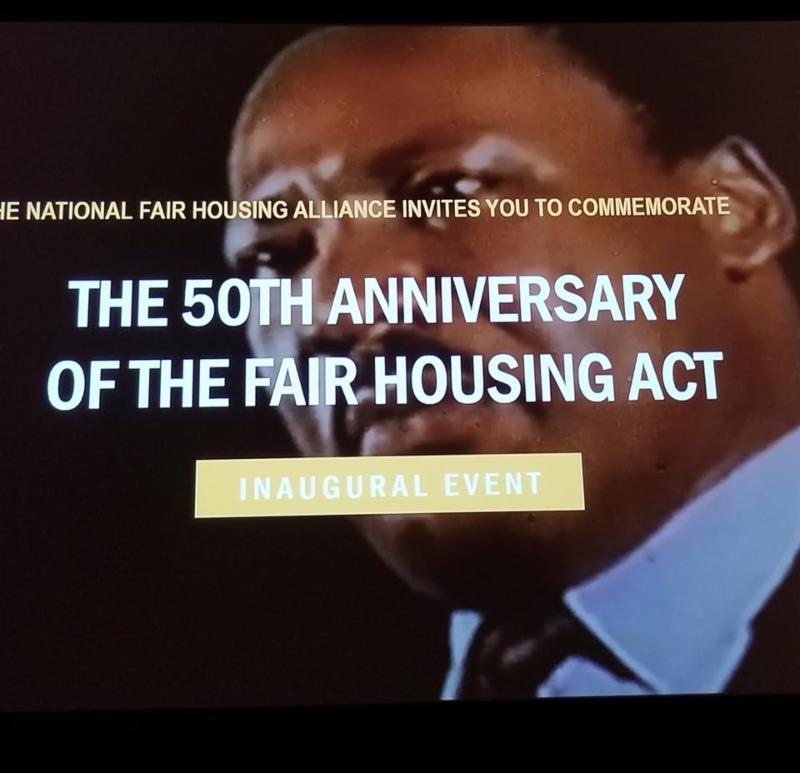 Slide of Martin Luther King with the 50th Anniversary of the Fair Housing Act Inaugural Event