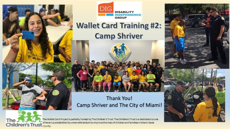 5 picture collage from the wallet card training with camp shriver students and the City of Miami Police Dept.