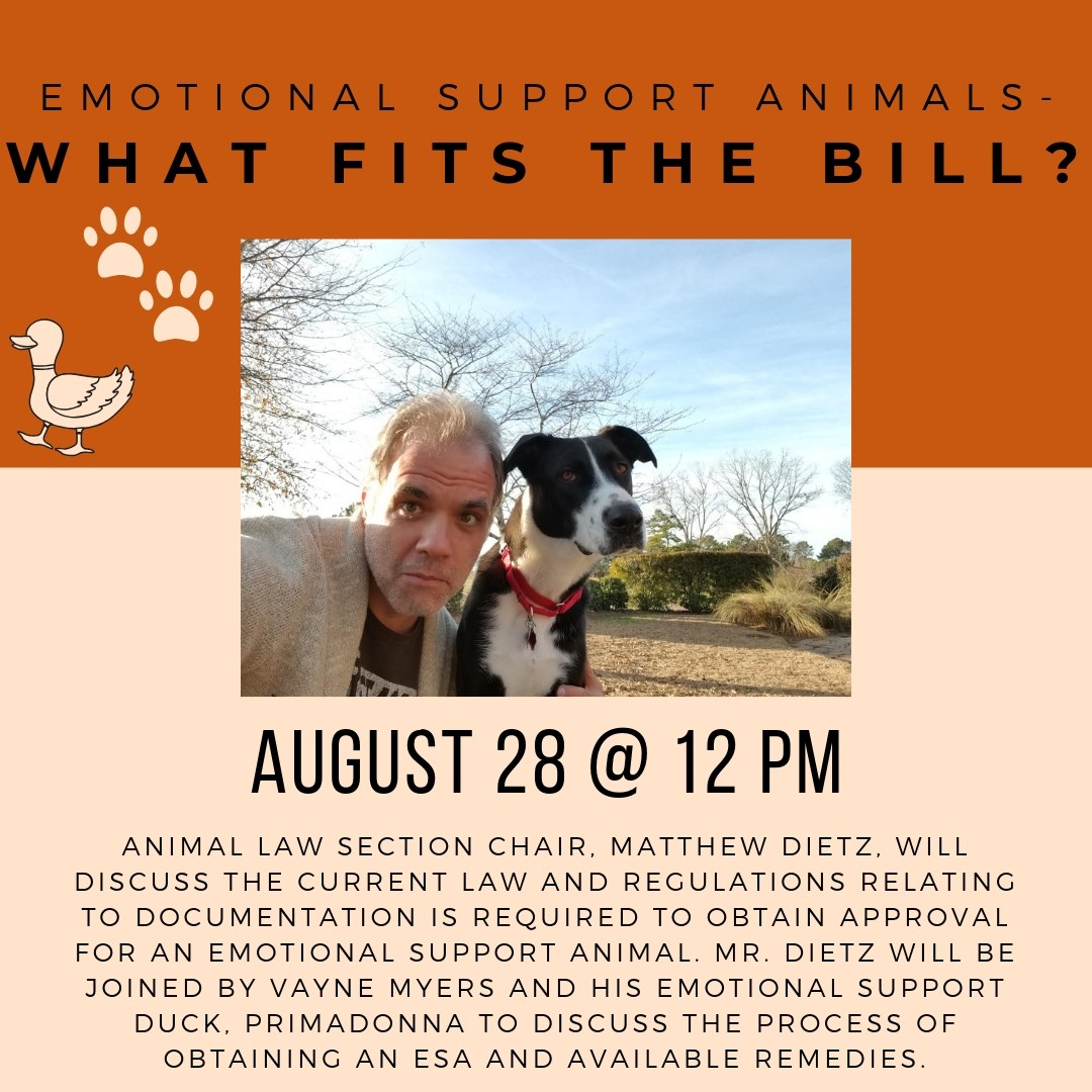 flyer for seminar on emotional support animals with matt and lucy the dog making a silly face