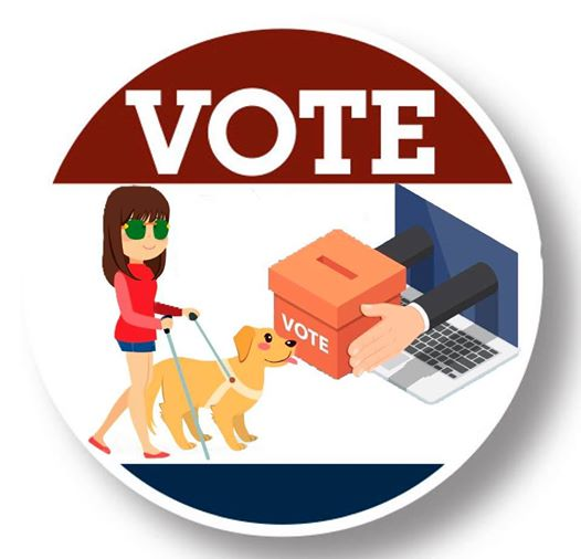 vote button that shows a blind woman with a service dog a laptop and vote ballot collection box
