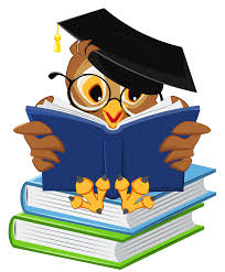clip art of an owl with a graduation cap reading books