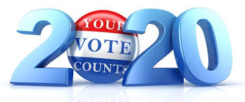 clip art that is 2020 with the first 0 as a voting button that says your vote counts