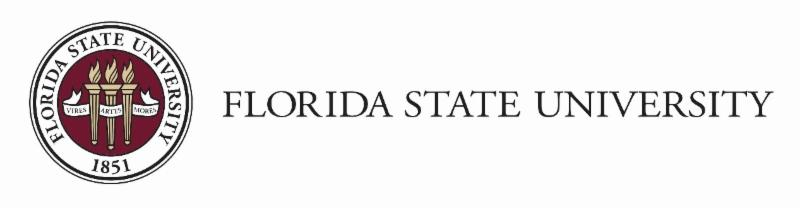 FSU logo three torches in the middle of a red cirlce surrounded by the words florida state university
