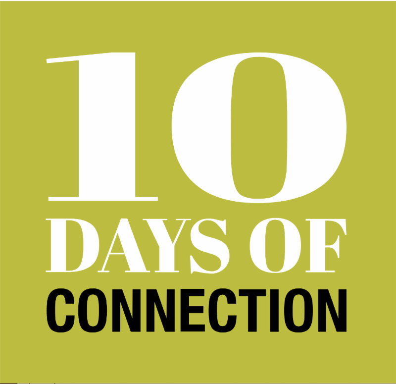 logo for the 10 days of connection in a greenish yellow box