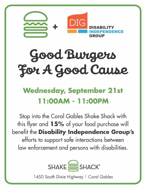 Flyer for Shake Shack event on 9-21-16 11am - 11pm