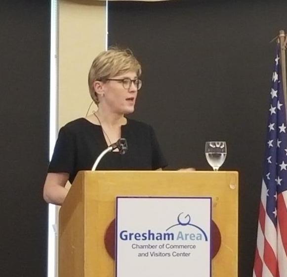 Maria Pope, PGE, Gresham Chamber Business Leaders Luncheon Main Speaker