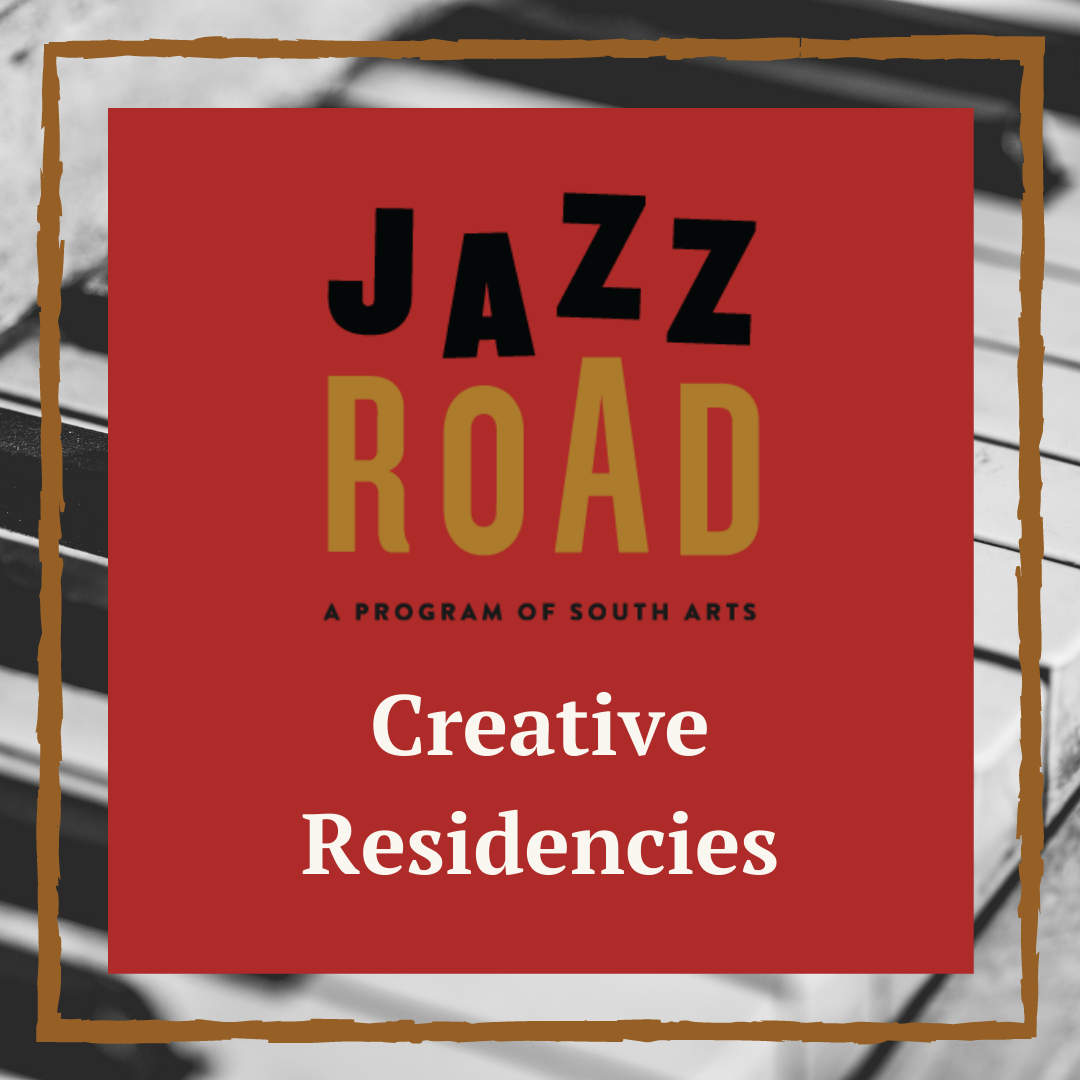 Jazz Road Creative Residencies word mark on a brick red square superimposed over a piano key background.