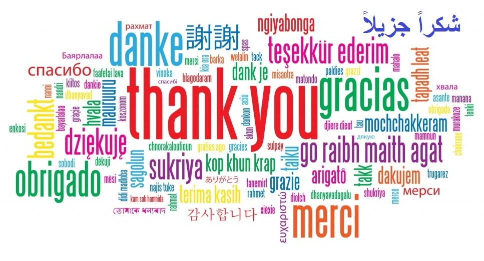 """Word cloud in many languages and colors of the phrase """"Thank You"""""""