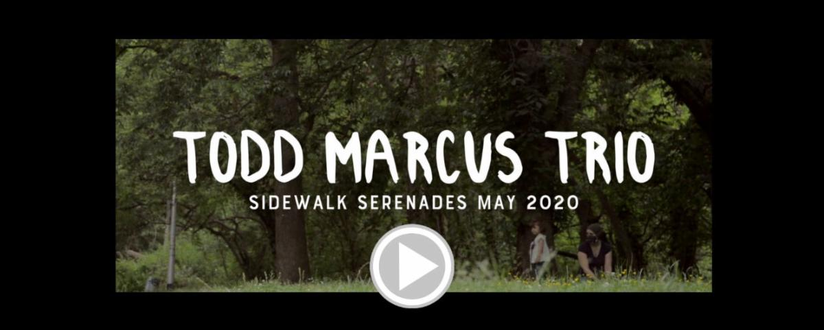 Title screen to the Todd Marcus Trio Sidewalk Serenade video.  A woman and small child are in the lower right hand corner in a large green space. White titling in on the screen.